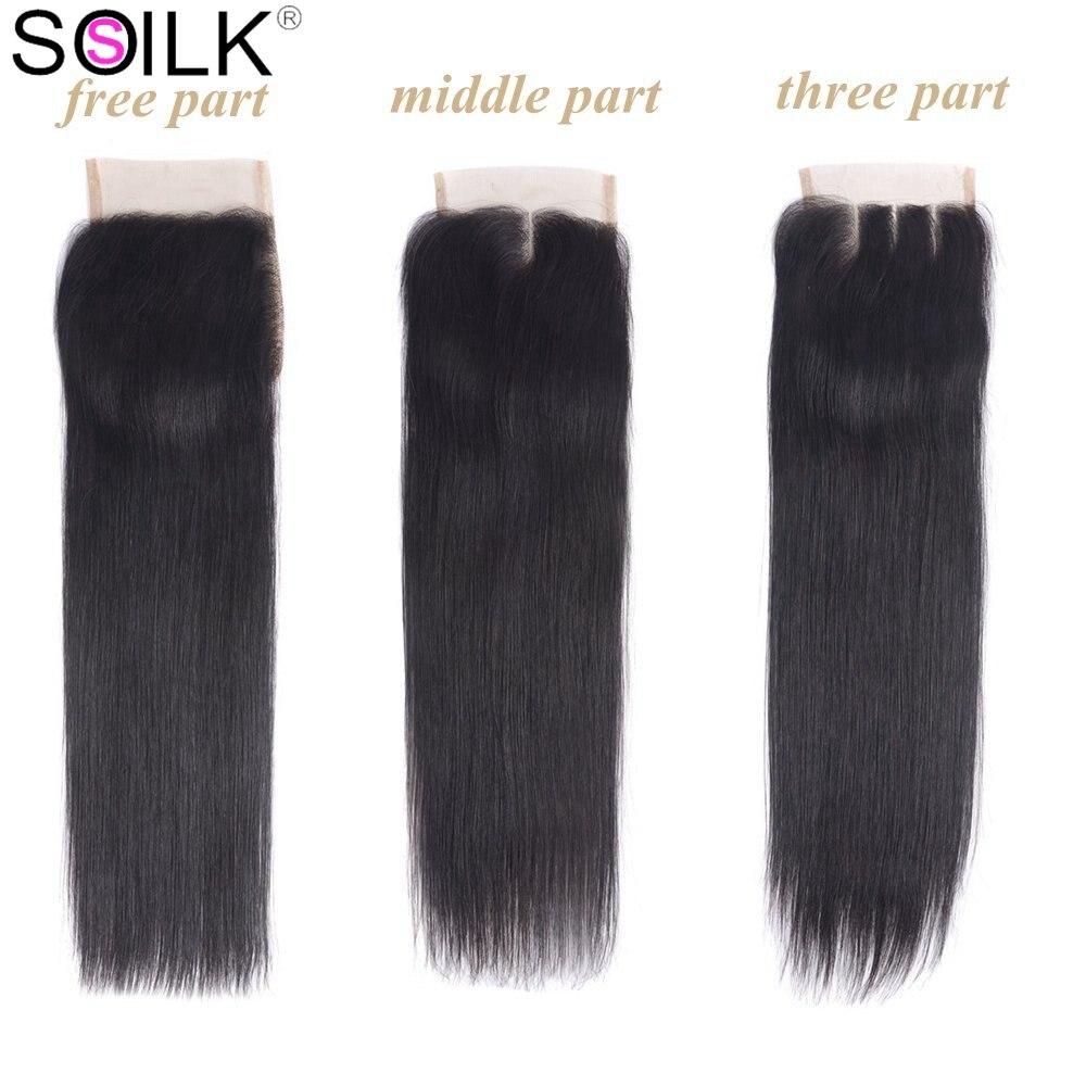3 Bundles With Closure Peruvian Straight Hair with Closure 4x4 Middle Part Closure Remy Human Hair Weave Bundles So Silk
