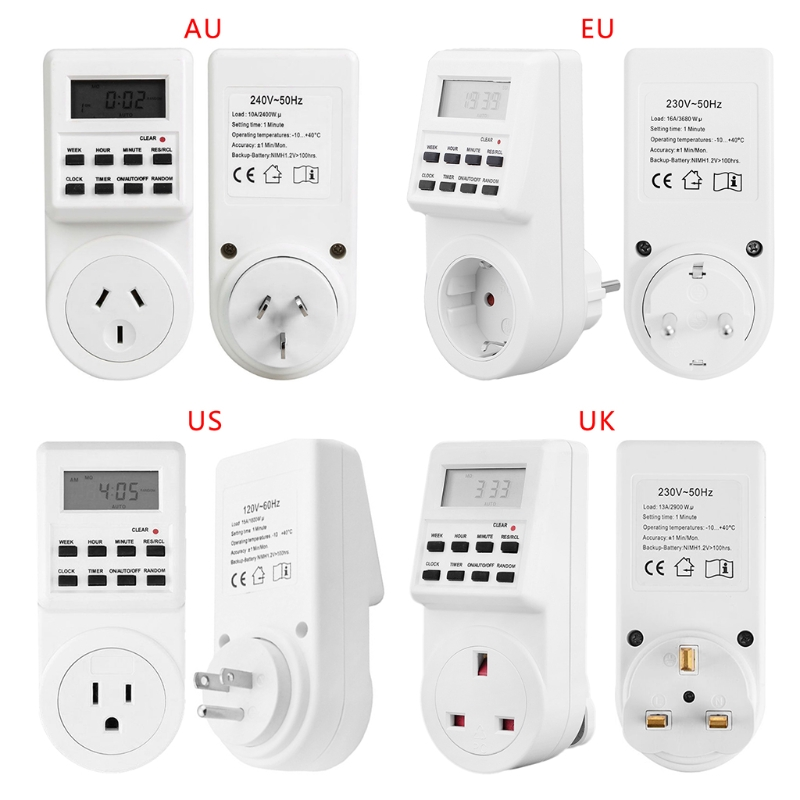 Plug-in Timer Switch Socket Digital LCD Display Smart Electrical Programmable #0604 manhua weekly programmable 220vac 25a electrical school bell timer 68 on duration 1 99 seconds program with lcd display ms316b