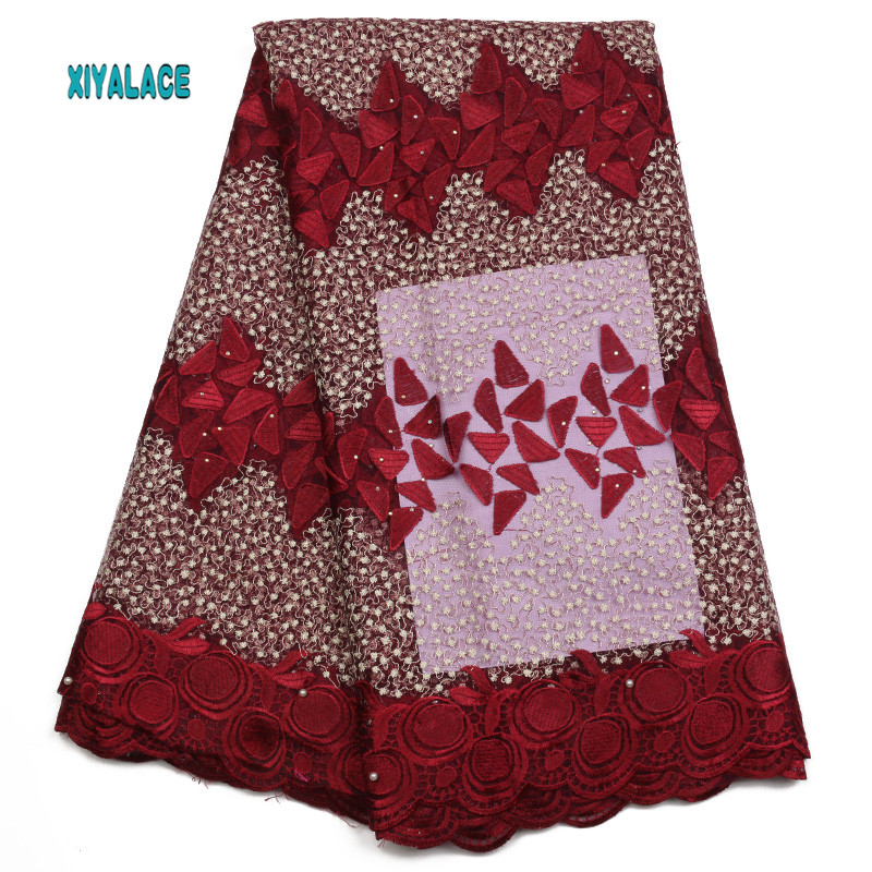 African Lace Fabric 2019 High Quality Nigerian Lace Fabrics Embroidery French Tulle Lace With Stones Fabric YA1927B-1