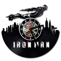 Black Hollow Iron Man Record Clock Made of Vinyl 3D Wall Clock Home Decoration Hanging Clock LED Lighting