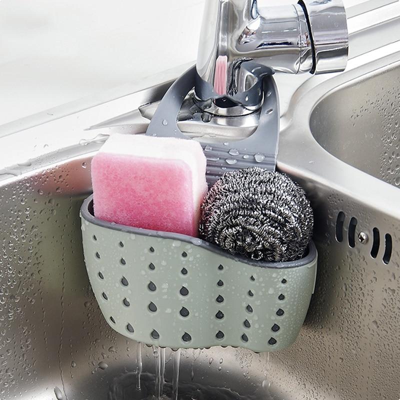 Adjustable Snap Sink Soap Sponge Holder Storage Drain Rack Kitchen Hanging Drain Basket Rack Holder Shelf Bathroom Organizer