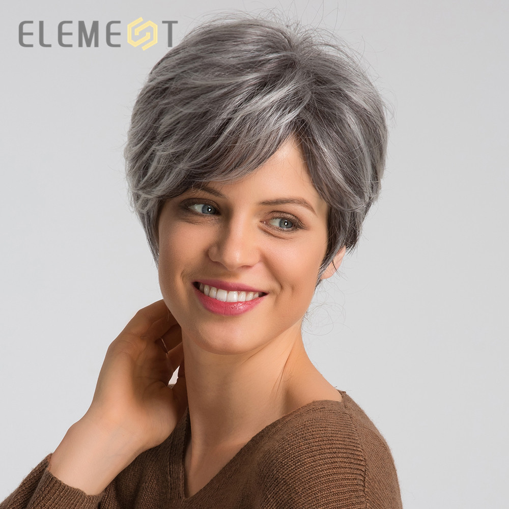 Element Heat Resistant Synthetic Short Wig With Side Fringe 6 inch Glueless Wigs for Women Blend 50% Human Hair Gray Color