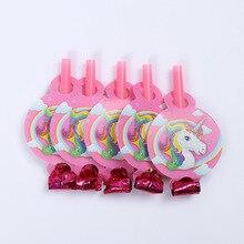 6 piezas de fiesta de unicornio silbidos de fiesta de cumpleaños para niños, suministros de decoración, juguetes para hacer Noice
