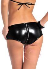 New Women Sexy Latex Black Mini Shorts Low Waist Women Zipper Boxer Jeans Faux Leather Night Club Dance Sexy Wear