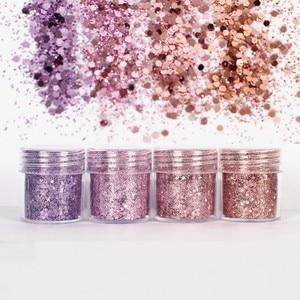 Image 4 - Set of 4 10ml Chunky Pink series Nail Glitter Powder Sequins Powder For Nail Art Decoration Gradient Set ultra fine Nail Glitter