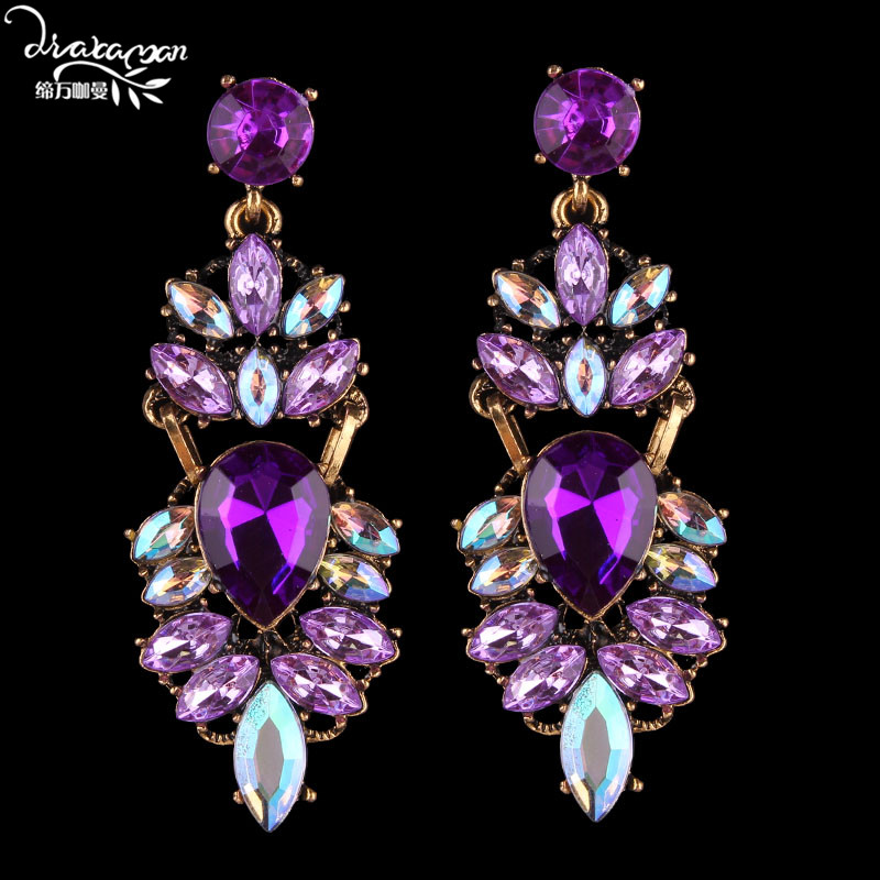 Dvacaman Dangle Earrings Party-Jewelry Rhinestone-Drop Wedding Bridal-Statement Women