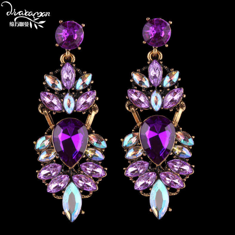 Dvacaman Brand Wedding Bridal Statement Crystal Earrings Women Purple Rhinestone Drop Dangle Earrings Party Jewelry Femme Bijoux Baroque Luxury Wedding Banquet Large Hanging Earrings Wholesale Dropshipping 2020 Winter
