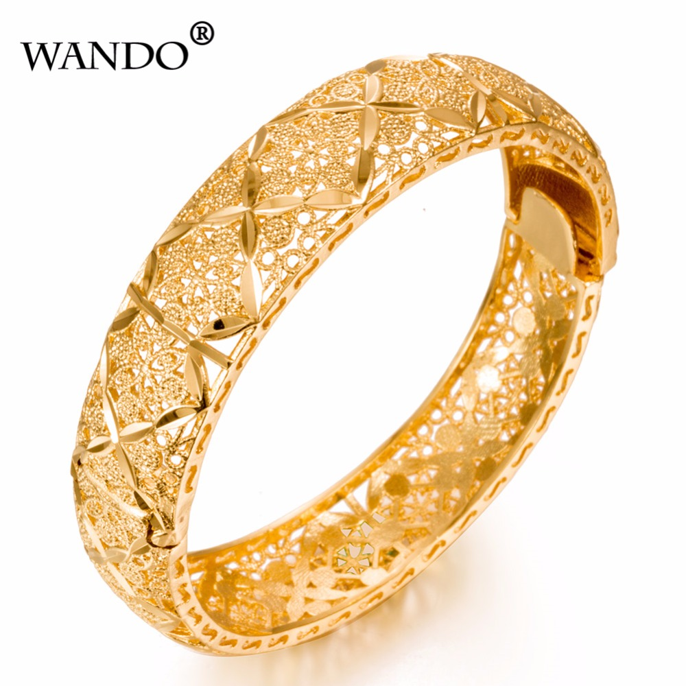 WANDO Luxury 24k Gold Color Ethiopian Bangles For Women