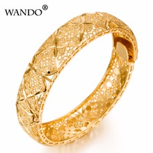 WANDO Luxury Ethiopian Bangles Women 24k Gold Color Dubai Ra