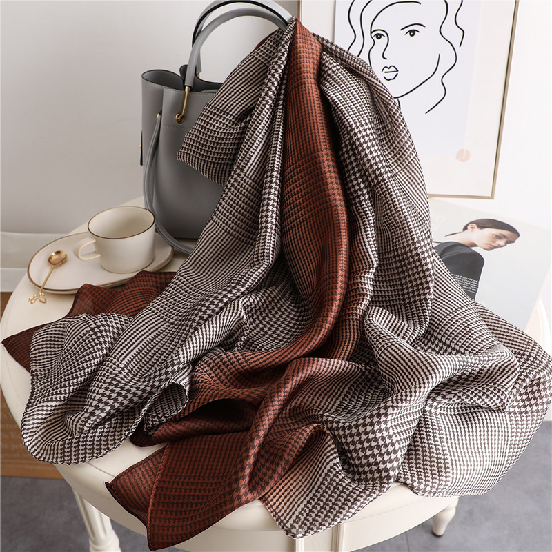 New Brand Designer Plaid Silk Scarf Woman Fashion Gradation Color Shawls And Wraps For Lady Summer Pashmina Soft Foulard Hijab