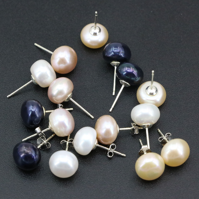 4 Colors Genius Natural Freshwater Pearl Stud Earring 10mm Fine Jewelry 925 Sterling Silver Studs Earrings For Women Gifts B3434