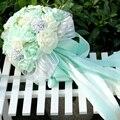 5 Cores Mint Verde flores Artificiais Bouquets de Dama de honra de Casamento 2017 Casamento Romântico broche bouquets de Casamento Accessies F4