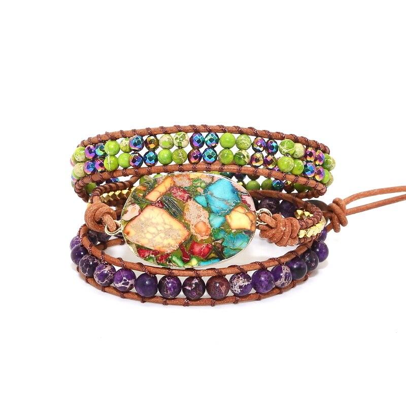 NEW arrived Unique Mixed New Women Wrap Bracelet Natural Japser Crystal Leather Rope Bracelets Bohemia Beads Gift Cuff Bracelet bracelet