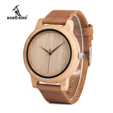 BOBO BIRD Men s Bamboo Wooden Wristwatches With Genuine Leather Band Luxury Wood Watches for Men