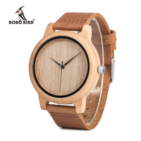 Fashion Luxury Men S Round Bamboo Watches With Genuine Cowhide Leather Japan Movement Wristwatch For Man