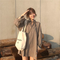 Tie Turn down Collar Women Dress Above Knee Mini Flare Sleeve Vestidos Loose Shirts Dresses Plaid Casual Vestido