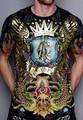 Мужские футболки 2016 мода ED известный бренд горячей бурения цветы крылья череп печатных майка мужчин футболки футболки тройники одежда