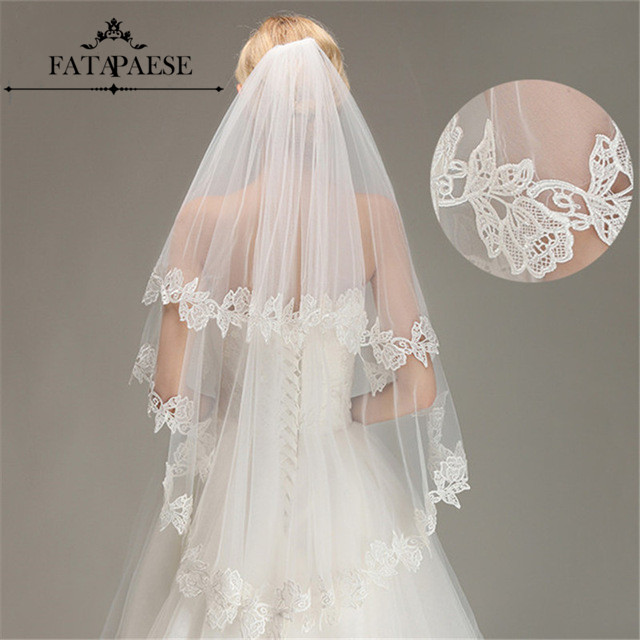 Romantic Lace Applique Two Layers Wedding Veils 2019 1.5 M Long Veils With Comb Wedding Accessories Bridal Veil Velos De Novia