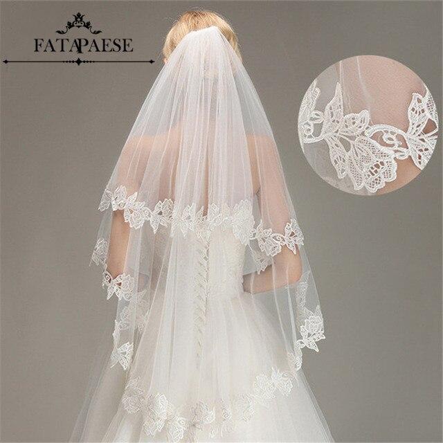 Romantic Lace Applique Two Layers Wedding Veils 2020 1.5 M Long Veils With Comb Wedding Accessories Bridal Veil velos de novia