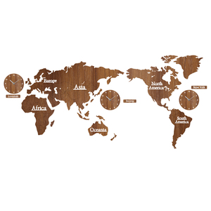 Image 3 - Creative World Map Wall Clock Wooden Large Wood Watch Wall Clock Modern European Style Round Mute relogio de parede