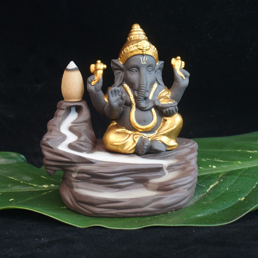 Creative environmental Home office Decor The Little Monk Censer India Lord Ganesha ack-flow Ceramic Incense Burner