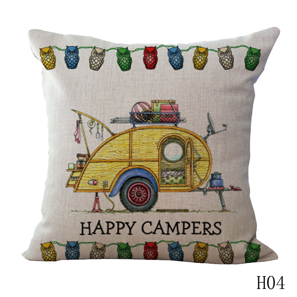 1PC Cartoon Camping Car Linen Cotton Cushion Cover Throw Pillows Car Sofa Case Decorative Pillowcase For Children Gift
