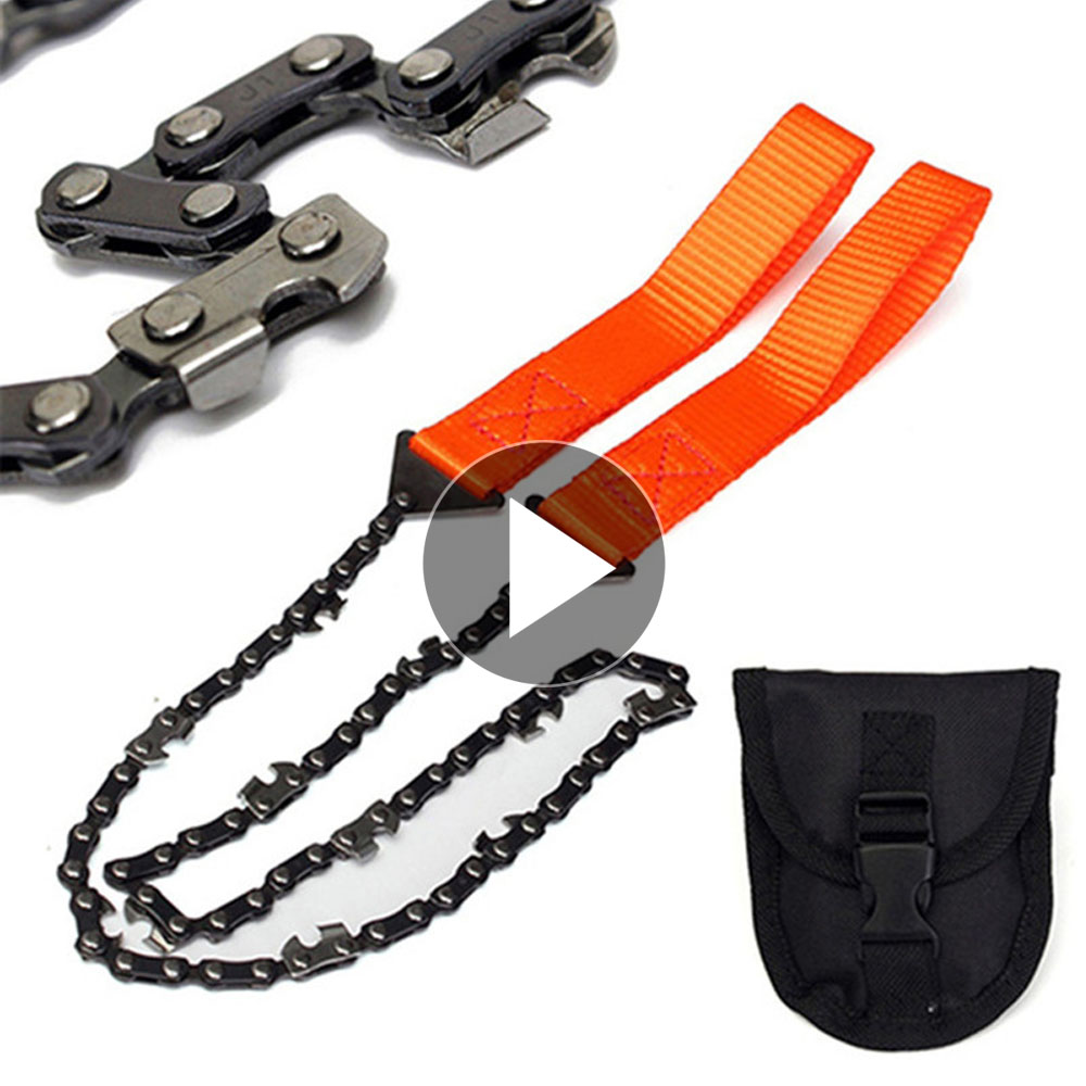 65cm EDC Outdoor Stainless Steel Gear Pocket String Wire Saw Carbon Ring Scroll Camping Survival Tool Hand Rope Chain Saws