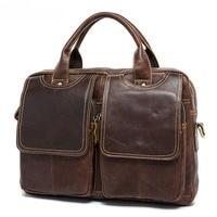 100% Genuine Leather Handbag Men bag Briefcase Business Messenge bag Vintage Brown Coffee Cow Leather Laptop bag Men's Tote 2019