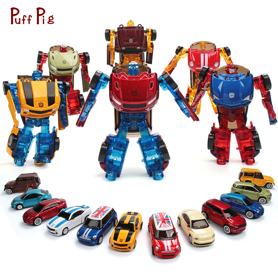 Mini Alloy Transformation Car Action Figures Metal Speed Cars Deformation Robots Education Toys For Children Boys Christmas Gift
