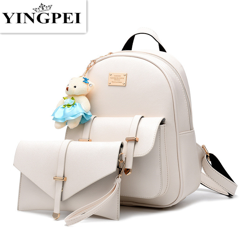 YINGPEI PU Women Backpack Leather big girl student book bag with purse 2pcs  set bag high 708cc67049