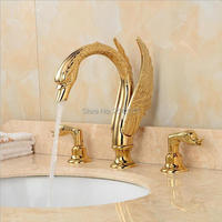 Royal Noble Gorgeous Bathroom Swan Faucets 3 Pcs Luxury High Quality Golden Brass 3 Holes Bathtub