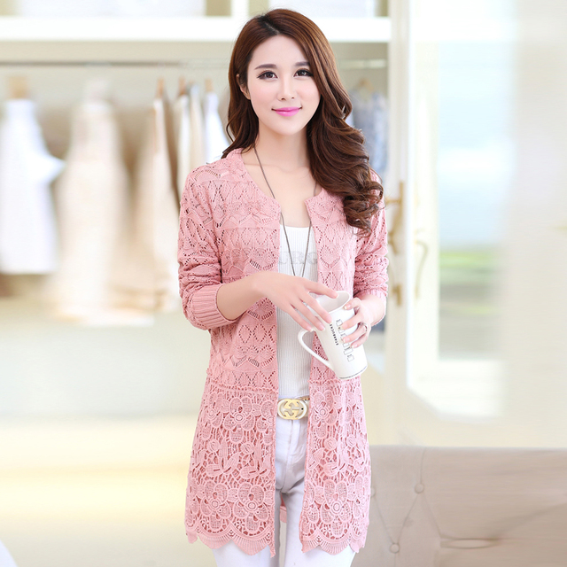 2016 Spring And Autumn Korean Women's Sweater Long-sleeve Long Section Knitwear Hollow Lace Cardigan Coat Female Fashion  J113