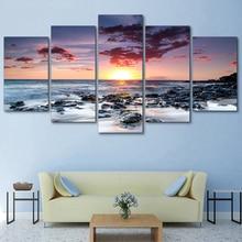 5 Pieces Modular Wall Paintings Beach Sunset Landscape Canvas  Print Poster Frame Decor Art Modern