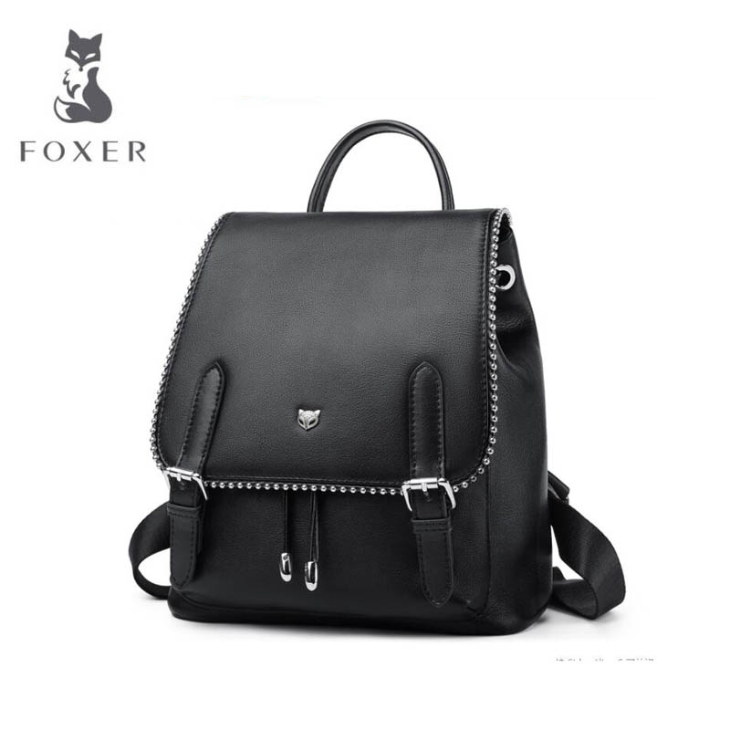 Women bag 2018 FOXER New genuine leather women backpack fashion leather backpack women leisure Superior cowhide women backpack new 2016 women backpack genuine leather fashion bag backpack women leisure college wind cowhide backpack girl school