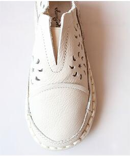 New 2016 summer, Genuine leather shoes,pure handmade lazy shoes, Hollow casual shoes ,Sweet art flat white shoes,3 color