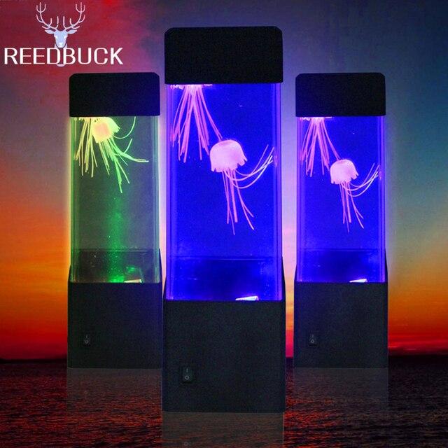 Led Desktop Jellyfish Aquarium Night Lamp Colorful Jellyfish Volcano