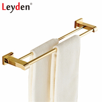 Leyden Double Towel Bar Holder Luxury Golden/ Chrome 60cm Square Base Wall Mounted Brass Modern Towel Hanger Bathroom Accessory