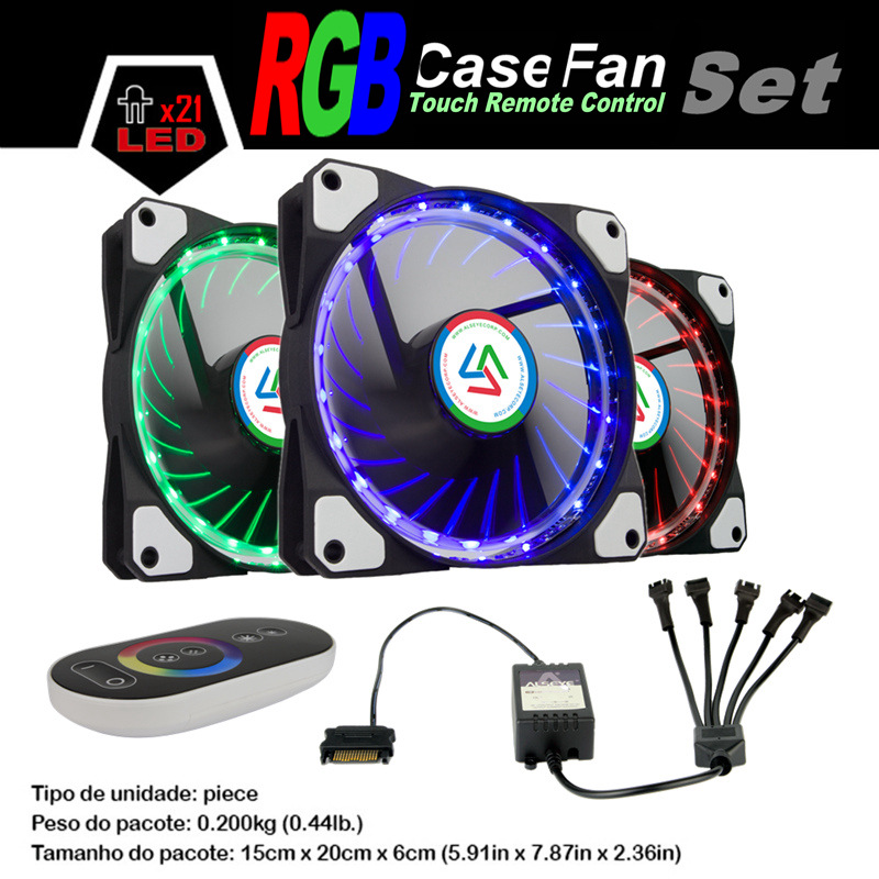 ALSEYE 120mm cooler fan for computer LED RGB fan cooler with 5 channels touch remote controller, DC 12v 1100RPM personal computer graphics cards fan cooler replacements fit for pc graphics cards cooling fan 12v 0 1a graphic fan