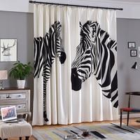 Single Panels Digital Printed 3d Curtains For Bedroom Window Decoration Modern Style Zebra Pattern Window Curtain Children Room
