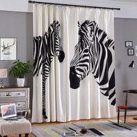 Single Panels Digital Printed 3d Curtains For Bedroom Window Decoration Modern Style Zebra Pattern Window Curtain Children Room