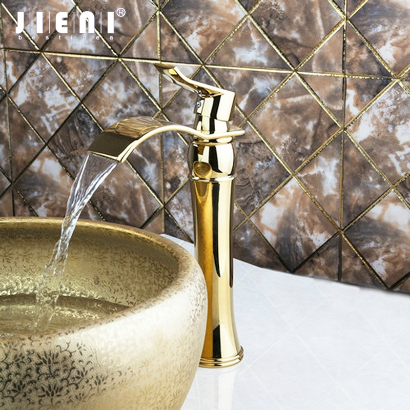 Tall Luxury Golden Waterafall Bathroom Brass Deck Mount Single Handle Sink Basin Torneira Vessel Tap Mixer Faucet donyummyjo luxury bathroom basin faucet brass golden polish swan shape single handle hot