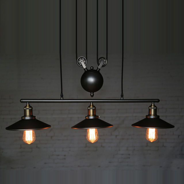 Industrial Country Creative Pulley Design Black Iron Hang Painted Ceuling Light Dining Room Bar Retro