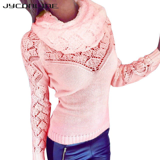 JYConline Turtleneck Pullover Women Sweater For Christmas 2016 Autumn Knitted Sweaters Jumper Pull Femme Slim Sexy Sweater Women