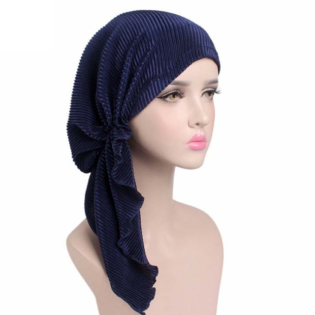 Nuove donne molle ruffle testa Sciarpa Chemio Cappello Turbante Pre-Legato  Copricapi Bandana foulard Tichel d543b92e2abb