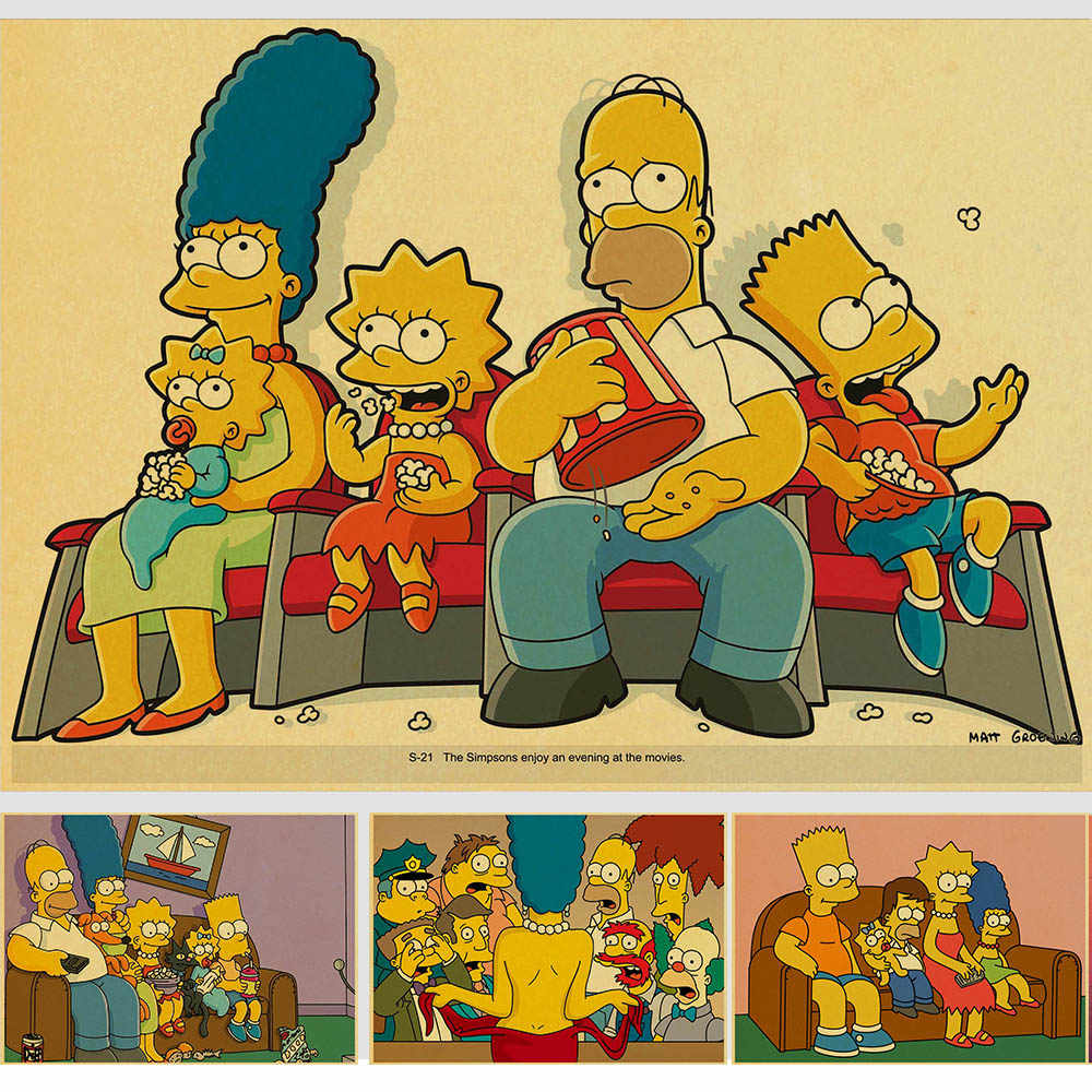 Cartoon The Simpsons Movie Bart Homer J Lisa Simpson Vintage Paper Poster Wall Painting Home Decoration 42x30 Cm 30x21 Cm
