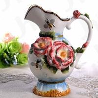 ceramic creative bee rose flowers vase coffee pot home decor crafts room wedding decorations handicraft porcelain figurines