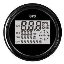 """85mm הימי סירת רכב GPS מד מהירות LCD תצוגת 0 ~ 999 קשרים קמ""""ש Km/h מתכוונן הדיגיטלי מד מהירות מד עם תאורה אחורית"""