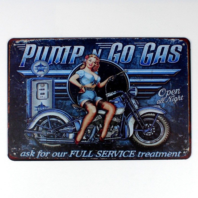 US SELLER wall decals bedroom Pump Go Gas pin-up girl motorcycle tin metal sign