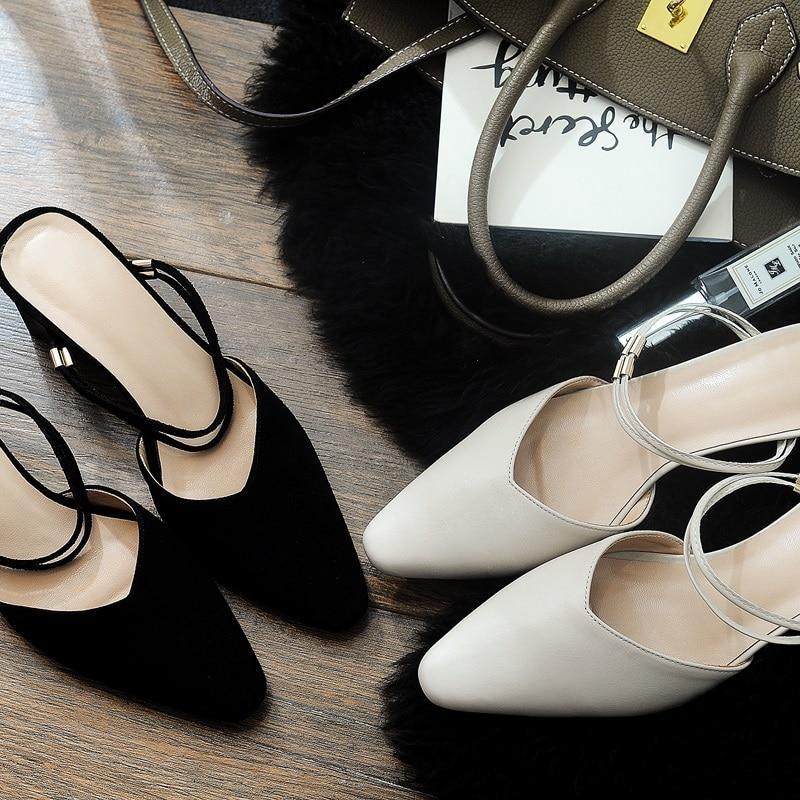 Bout Femmes Peu Slip Mode Chaussures on black Zvq Sandales Carré Beige À L'extérieur Véritable Style Qualité En Pour Profonde Haute Cuir Étrange 54RLAj