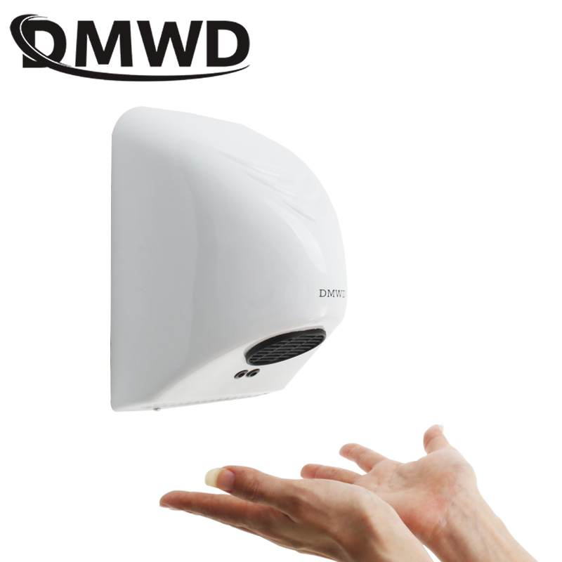 DMWD Electric Automatic Hand Dryer Household Hotel Sensor Jet Induction Hands Drying Device Bathroom Hot Air Wind Blower EU Plug